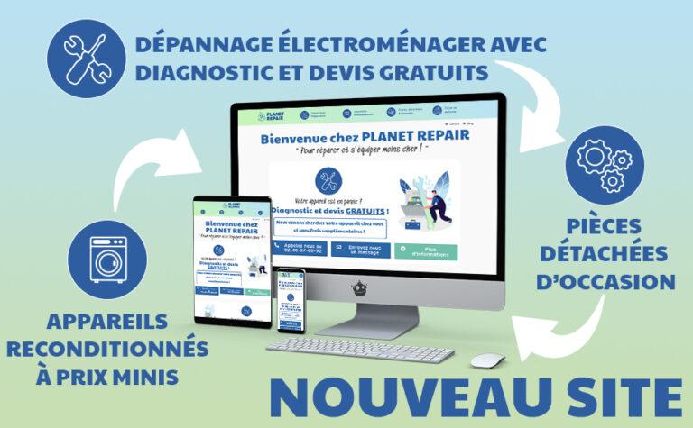mokup du site planet repair sur ordinateur, tablette et téléphone