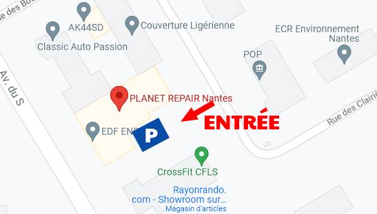 Carte de la zone du teillis - accès planet repair